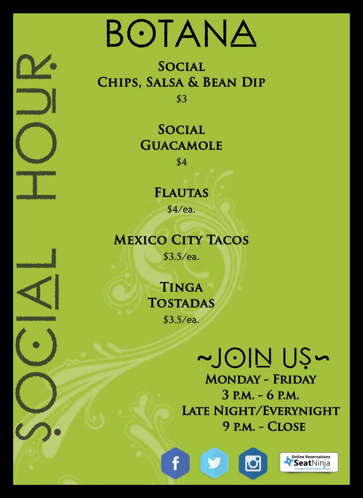Social Hour ss menu botana